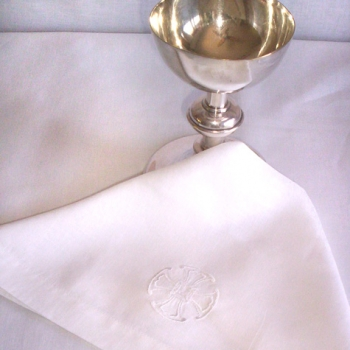 communion veil with chalice on top altar linens